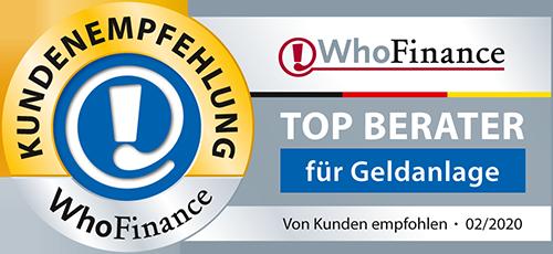 WhoFinance Joachim Krüger Top Berater für Geldanlagen 2020
